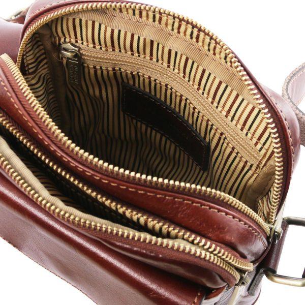 мъжка кожена чанта с презрамка в кафяво