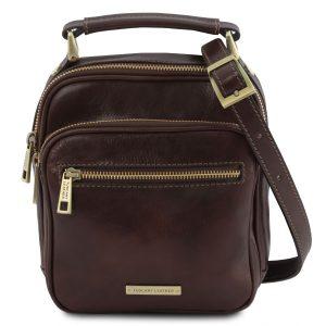 мъжка кожена чанта с презрамка в тъмно кафяво