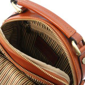мъжка кожена чанта с презрамка в цвят мед