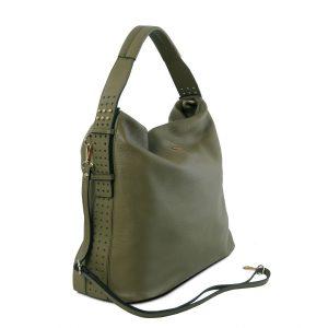 голяма кожена дамска чанта в зелено